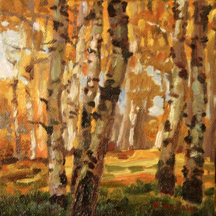 Landscape Painting of Aspen trees by Art Instructor Kevin McCain