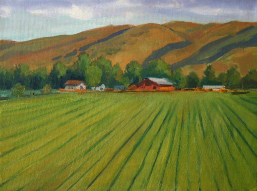 Fine Art Impressionist landscape painting of farmstead in Boise, Idaho area by fine art painter Kevin McCain