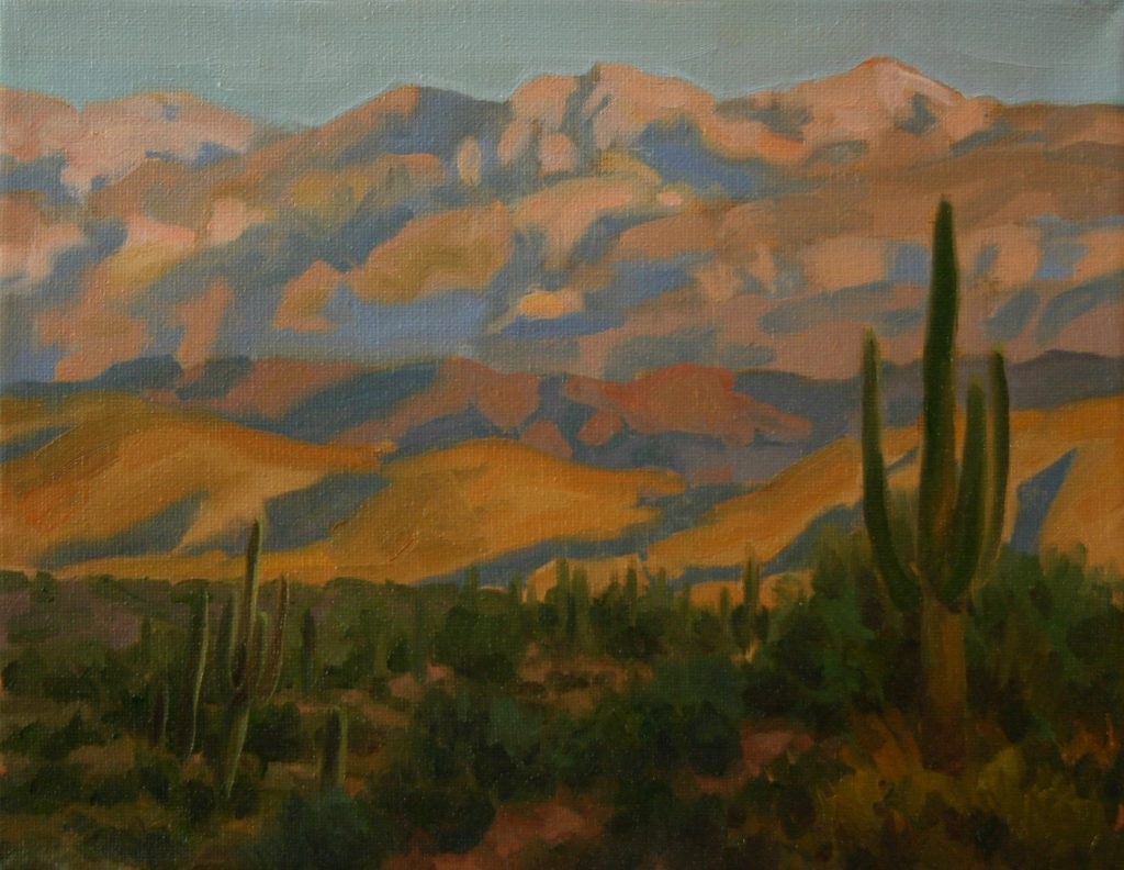 Small works holiday show Plein Air Impressionist painting of Four Peak Mountains at sunset in Mesa Arizona by Fine artist Kevin McCain