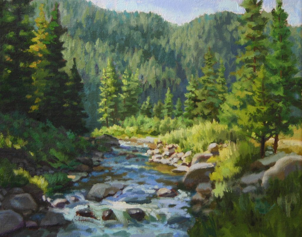 Small works holiday show Plein Air Impressionist painting of Mountains in Pines Trees with Small Creek in Sun Valley Idaho by Fine artist Kevin McCain