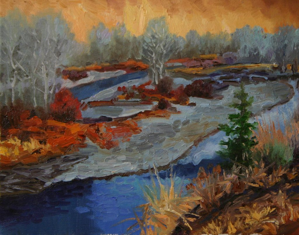 Small works holiday show Plein Air Impressionist painting of Wood River by Evening Light Hailey Idaho by Fine artist Kevin McCain