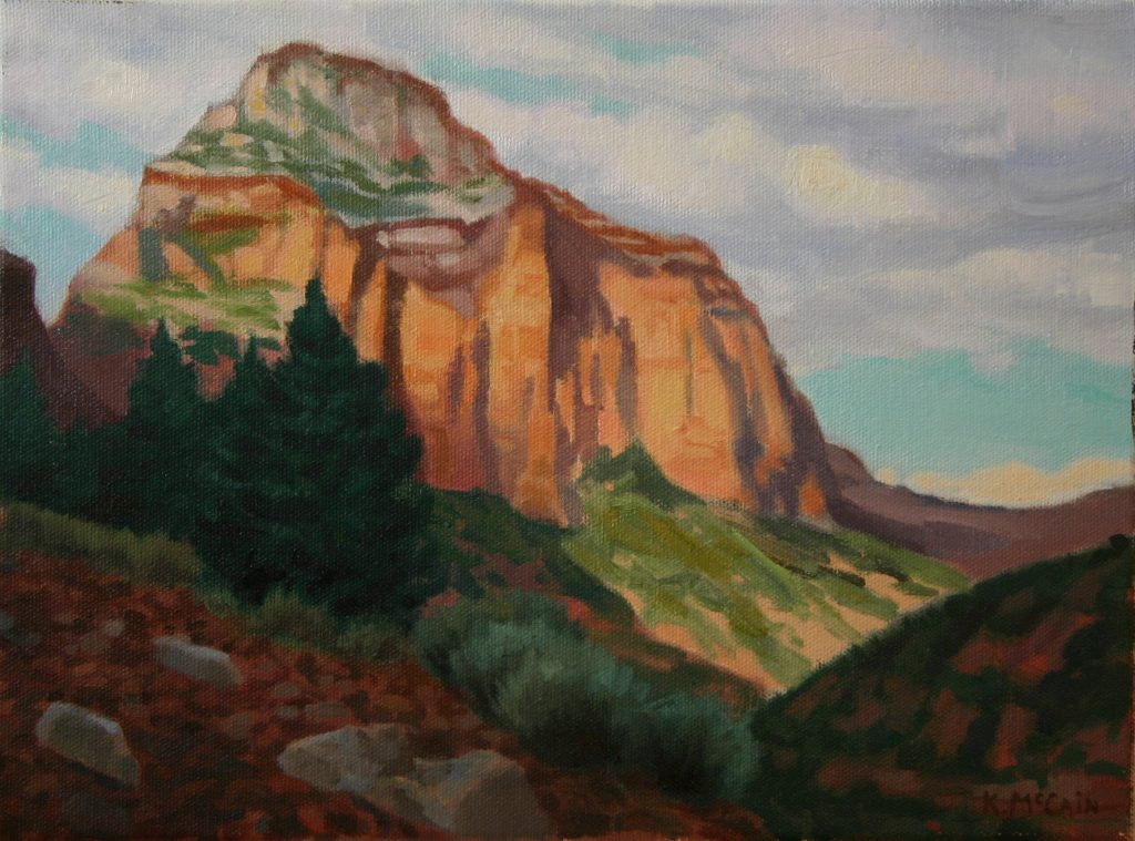 Small works holiday show Plein Air Impressionist painting of Zion's National Park at Sunset in Utah by Fine artist Kevin McCain