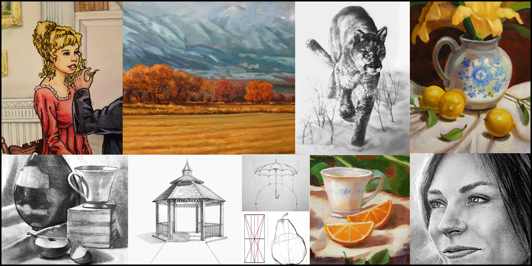 Various pencil drawings and oil paintings by the artist Kevin McCain