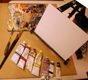 oil painting class supplies for class with Kevin McCain